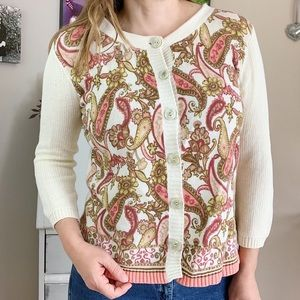 J. Jill Cream And Floral Paisley Cardigan Size M